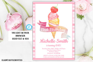 Ice Cream Invitation, First Birthday Ice Cream Invitation Template, Instant Download, Editable, Printable, Ice cream, Ice Cream Social, DIY