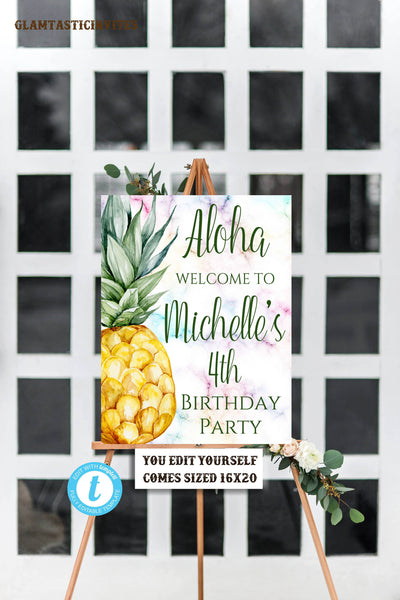 Pineapple Welcome Sign Template, Pineapple Birthday Template, Template, Instant Download, Editable,Printable, Pineapple, Fruit, DIY Sign