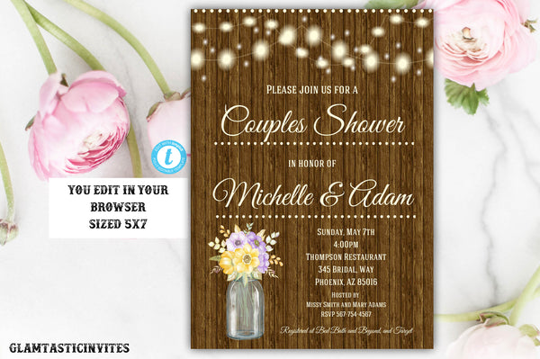 Couples Shower Invitation Template, Rustic Invitation, Instant Download, Couples Shower Invitation, Template, DIY Template, Wedding Shower