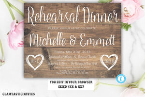 Wedding Rehearsal Invitation, Rustic Rehearsal Dinner Invitation,Rehearsal Template, Instant Download, Editable, Printable, Rehearsal Invite