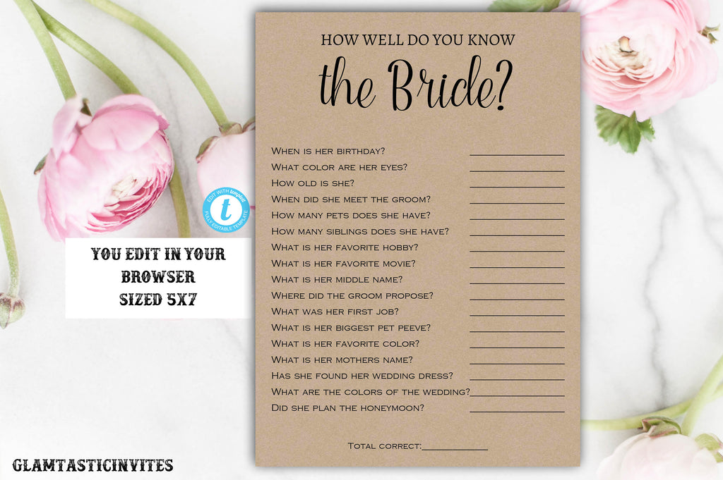 how well do you know the bride game instant download editable printable
