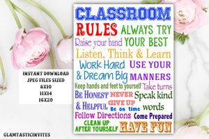 Classroom Rules, Rules for the Class, Classroom Decor, Gift for Teacher, First Day of School,Teacher classroom decor, Instant download, Gift