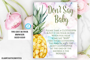 Don't Say Baby Sign Template, Pineapple Baby Shower Sign, Printable, Editable, Pineapple Don't Say Baby Sign, Instant Download, Tropical