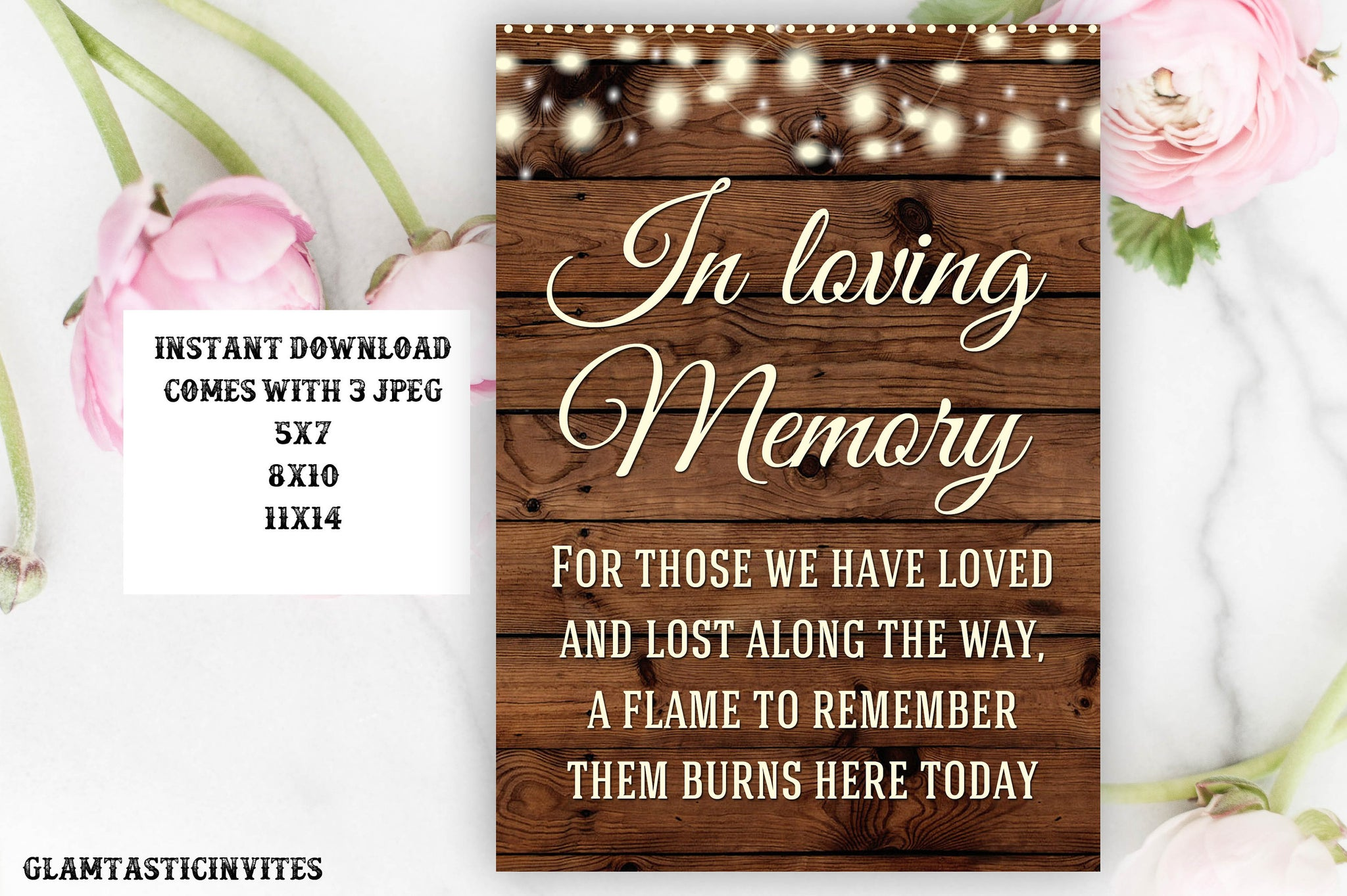 Wedding Sign, In loving Memory Sign, Rustic Wedding Sign, Printable Sign, Wedding Sign, Instant Download, DIY, Digital Sign, Printable