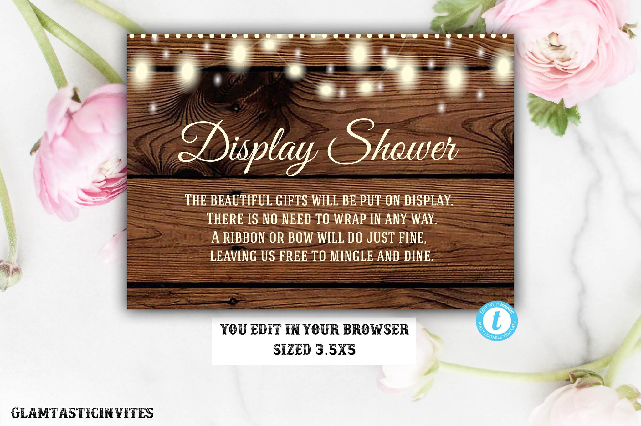 Display Shower Insert Template, Rustic Display Shower Insert, Template, Editable, Printable, Instant Download, Unwrapped Shower, No Wrapping
