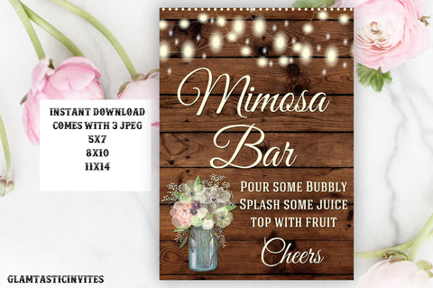 Mimosa Bar Sign, Bar Sign, Rustic Wedding Sign, Printable, Instant Download, Printable, Mimosa Sign, Digital Sign, Rustic Mimosa Bar, DIY