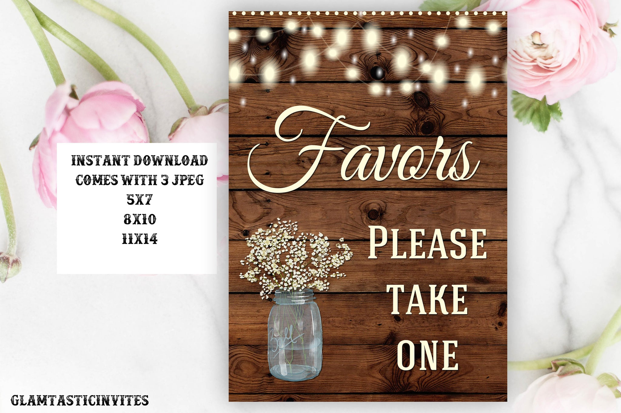 Rustic Favors Sign, Wedding Favors Sign, Baby Shower Favor Sign, Bridal Shower Favor Sign, Instant Download, Digital, Printable, Rustic Sign