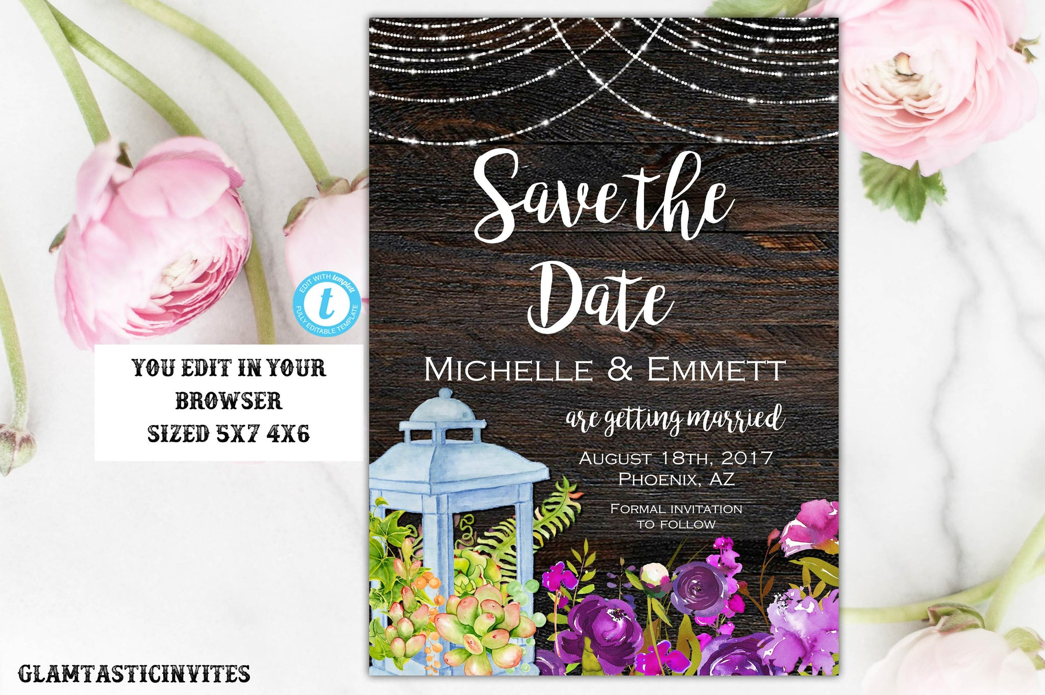Rustic Save-The-Dates, Printable, Rustic Save the Date Template ...