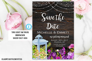 Rustic Save-The-Dates, Printable, Rustic Save the Date Template, Save the Date, Rustic Wedding, You Edit, Printable Save the Date Template