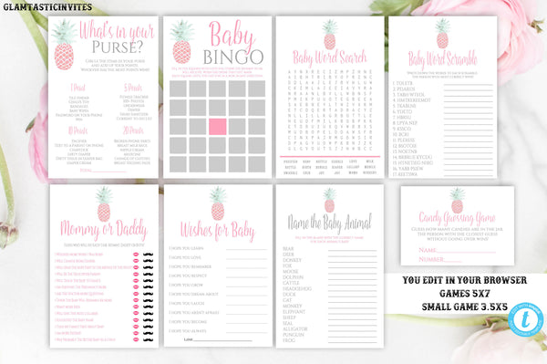 Pineapple Baby Shower Game Package Template, Instant Download, Editable, Printable, DIY, Pineapple, Baby Shower Game, Baby Shower Activity
