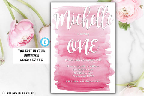 Watercolor Birthday Invitation, First Birthday Invitation, Pink Watercolor Invitation, Birthday Template, Editable Invitation, Watercolor