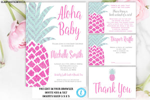 Pineapple Baby Shower Invitation, Instant Download, Baby Shower Template, Aloha Invitation, Aloha Baby, Editable, Pink, Silver, Green, DIY