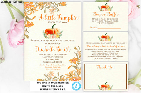 Floral Pumpkin Baby Shower Invite, Little Pumpkin Baby Shower Invitation,Baby Shower, Baby Shower Template, Baby Shower Package Template,DIY