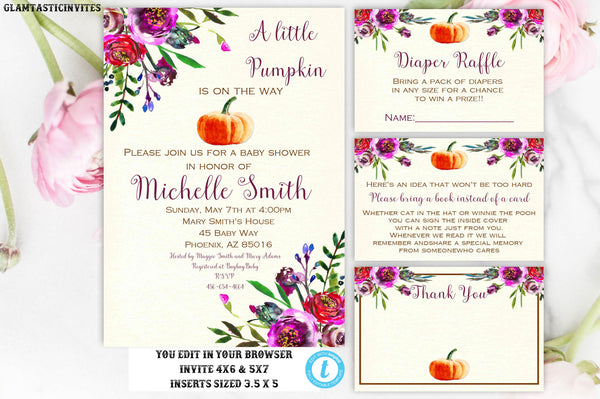 Pumpkin Floral Baby Shower Invite, Little Pumpkin Baby Shower Template, Fall Baby Shower Invite, Fall Leaves, Fall Tree, You Edit, DIY