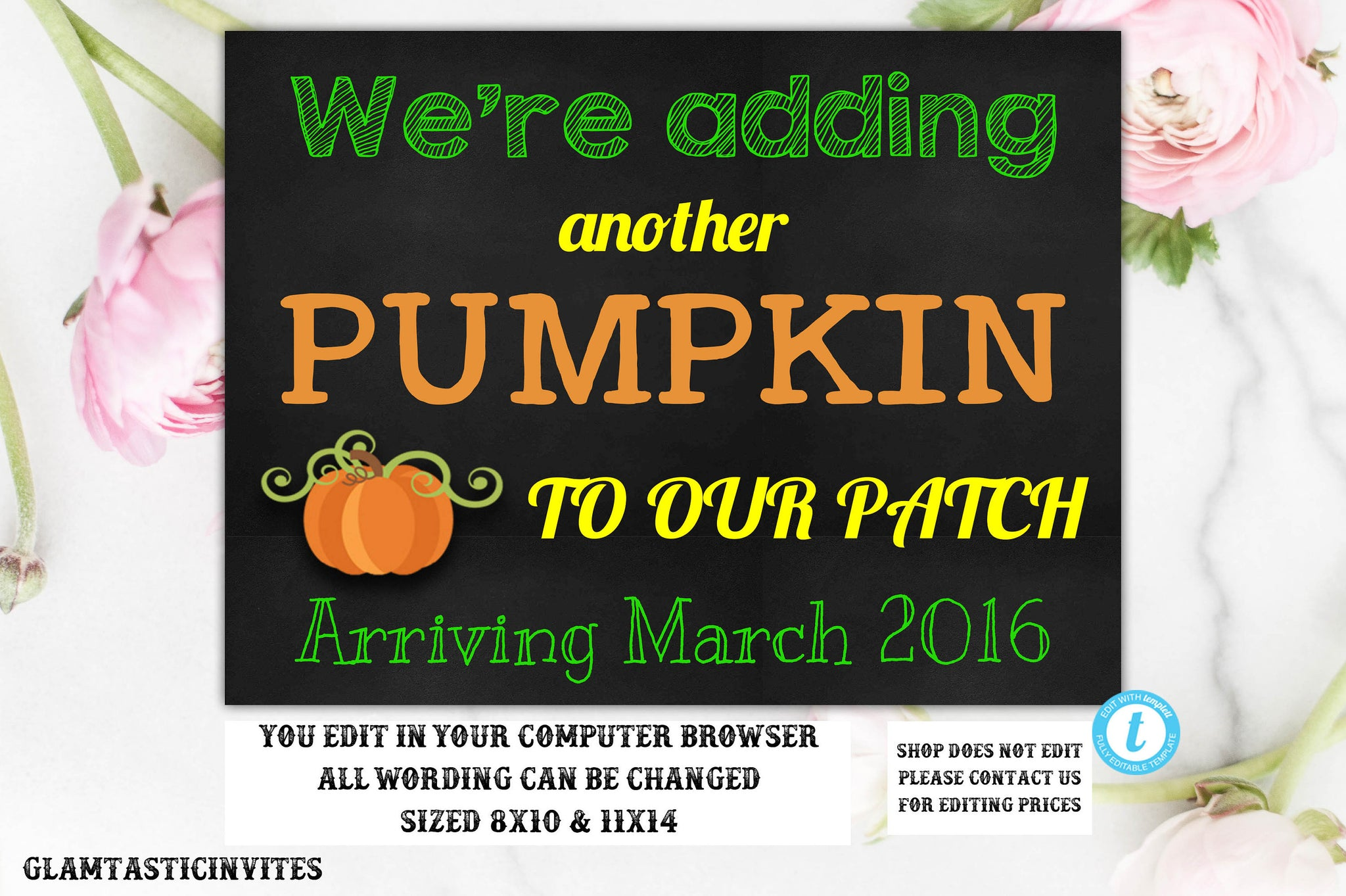 Fall Baby Announcement, Pumpkin Patch, Baby Reveal Pregnancy Announcement Chalkboard Halloween Banner Sign Prop, Pregnancy Template, DIY