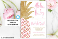 Pineapple Baby Shower Invitation, Pink and Gold Pineapple Girl Baby Shower Invitation Template, Instant Download, Editable, Printable, DIY