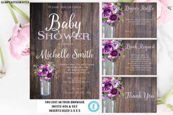 Rustic Floral Purple Mason Jar Girl Country Vintage Western Instant Download Editable Printable Baby Shower Invitation Package Template DIY