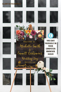 Edit Yourself Welcome Wedding Sign, Rustic Wedding Welcome Sign, Wedding Welcome Sign Template, Fall, Pumpkin, Boho,Floral, Instant Download