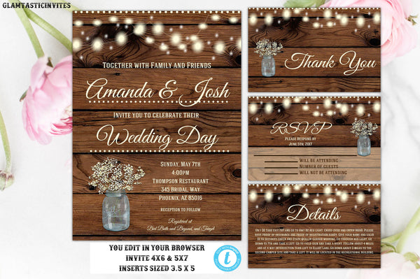Wedding Invitation Template, Instant Download, Floral Wedding Invite, Rustic Wedding Invitation Template, Wedding Invitation Set, Template