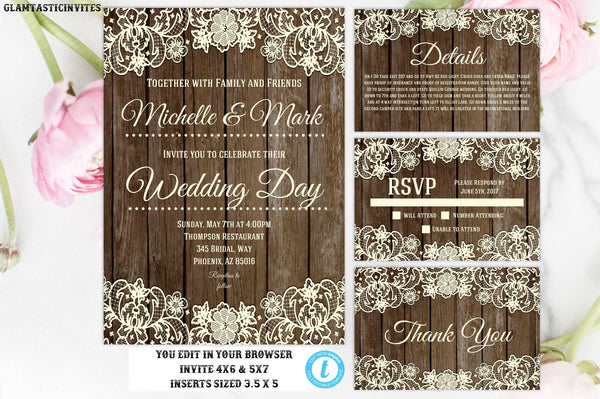 You Edit Wedding Invitation Template, Rustic Lace Wedding Invitation, Instant Download, Editable, Printable, DIY Wedding Template, Wedding