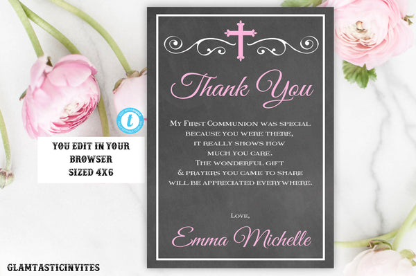 Communion Thank You Card Template, Girl Communion Thank You Card, First Communion, Baptism, Instant Download, YOU EDIT, Editable, Printable