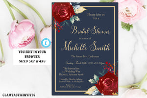 Marsala Navy Blue Gold Bridal Shower Invitation Template, Blue and Gold Shower Invitation Template, Editable, Marsala Bridal Template, DIY