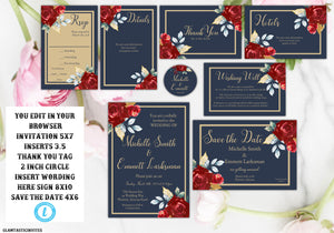 marsala navy blue gold wedding invitation template blue and gold