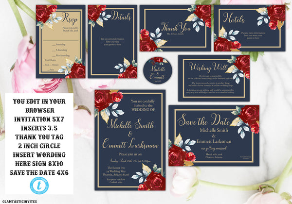 Marsala Navy Blue Gold Wedding Invitation Template, Blue and Gold Wedding Invitation Template, Editable, Wedding invitation Suite, Formal