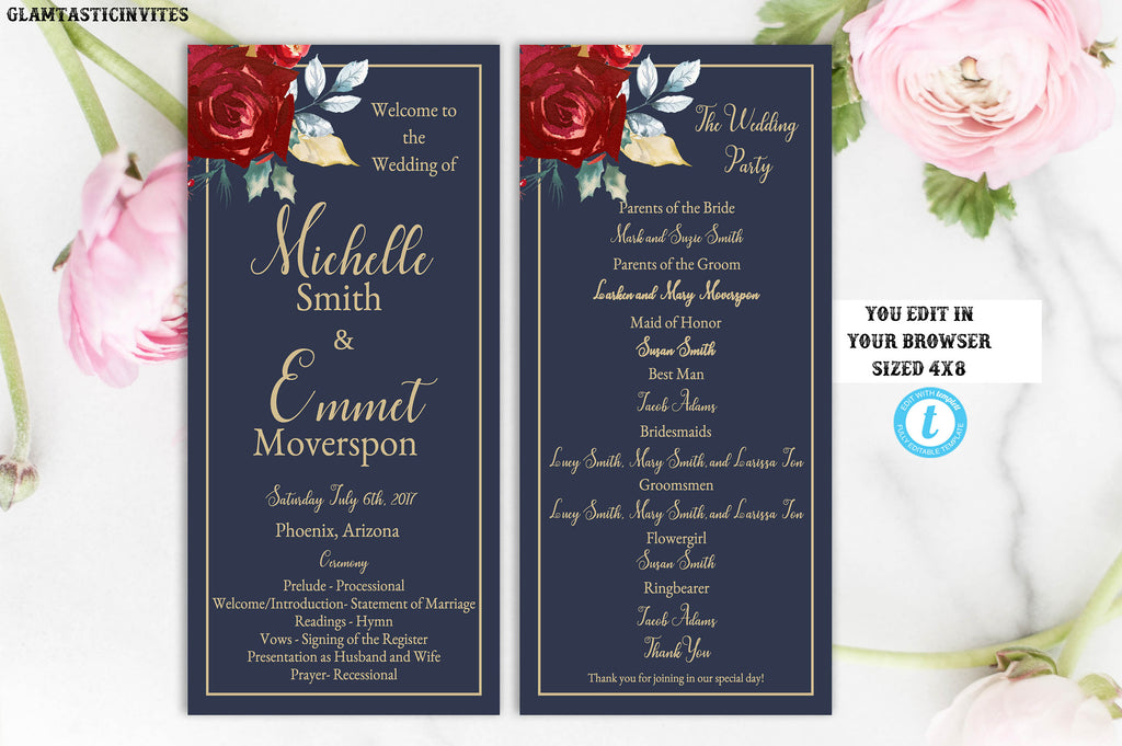 Burgundy Marsala Navy Blue Gold Rose Wedding Program Template Blue