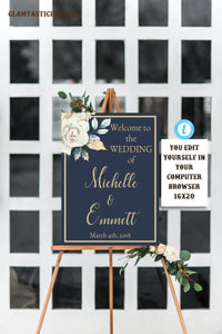 Ivory Navy Blue Gold Rose Wedding Welcome Sign Template Blue And