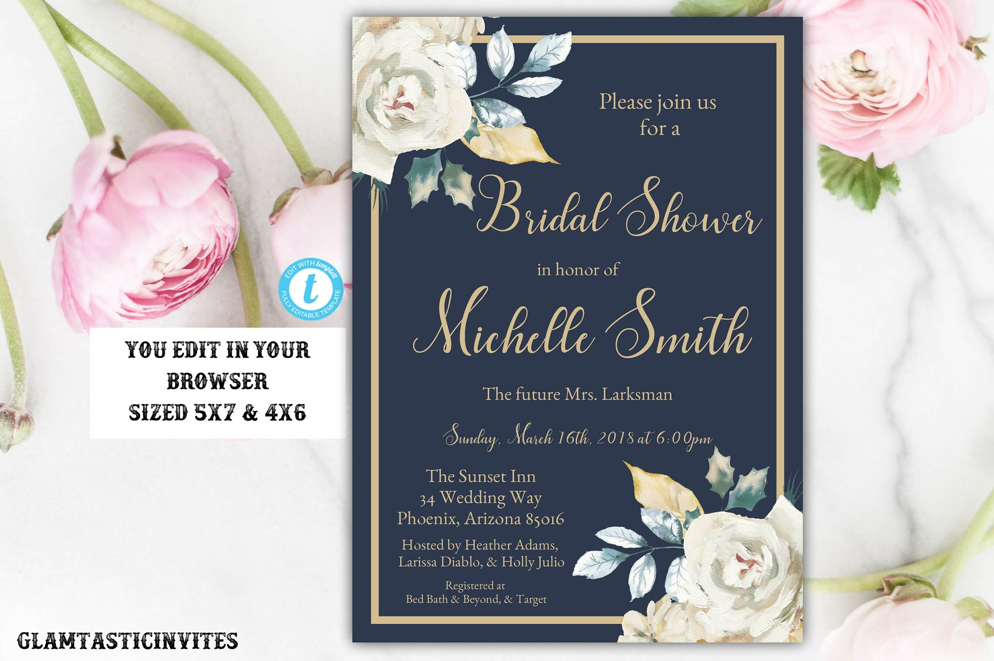 Ivory Rose Gold Navy Blue Bridal Shower Invitation Template, Instant Download, Editable, Rose, Blue and Gold, Ivory, Bridal Shower Template