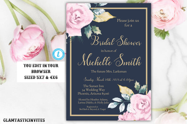 Pink Rose Navy Blue Gold Bridal Shower Invitation Template, Blue and Gold Shower Invitation Template, Editable, Rose Bridal Template, DIY
