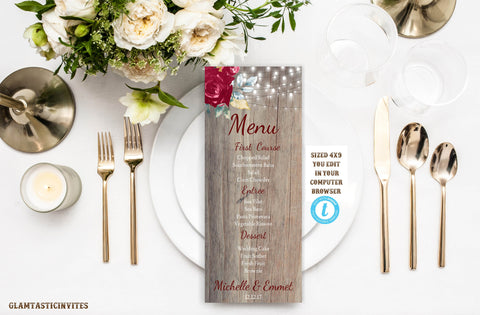 Burgundy Marsala Rustic Wedding Dinner Menu, Burgundy Wedding Menu, Instant Download, Editable, Printable, Marsala, Burgundy,DIY Dinner Menu