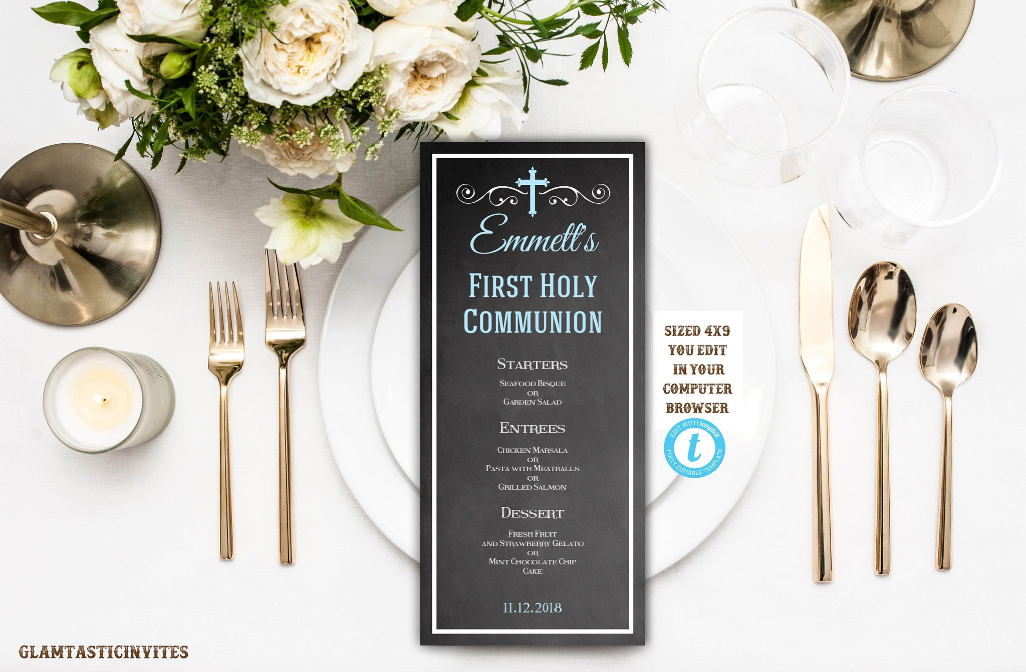 First Communion Menu Template, Instant Download, Editable, Printable, Communion, Baptism, Dedication, Religious Template, Template, DIY Menu