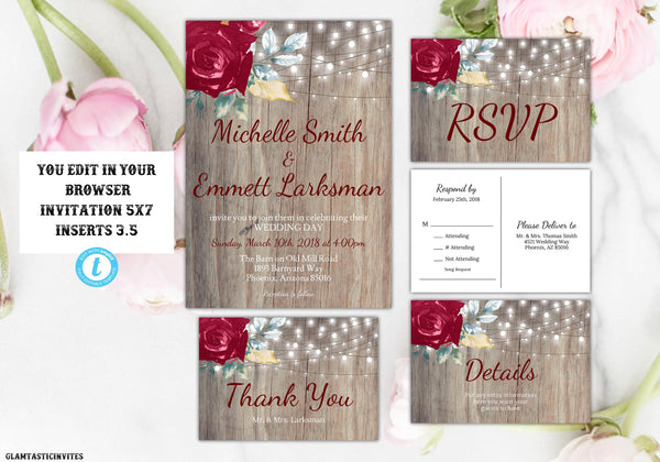 Burgundy Wedding Invitation Template, Marsala Wedding Invitation, Rustic Wedding Invitation Template, Editable, Postcard RSVP, Template, DIY