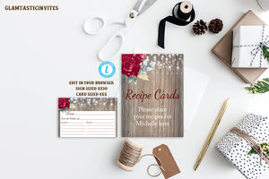 Marsala Burgundy Rustic Floral Recipe Card Template, Rustic Recipe Card, Boho Recipe Card, Marsala Recipe Card, Editable, Burgundy, Template