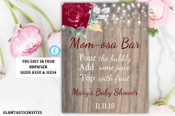 Momosa Bar Sign, Rustic Momosa Bar Sign, Baby Shower Momosa Sign, Rustic Baby Shower Decor, Editable, Printable, Mom-osa Baby Shower Sign