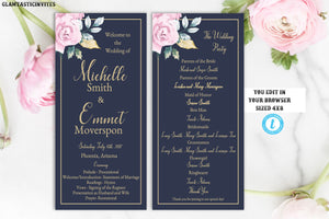 pink navy blue gold rose wedding program template blue and gold