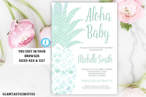 Pineapple Baby Shower Invitation, Instant Download, Baby Shower Template,Aloha Invitation, Aloha Baby, Editable, Tropical, Green, DIY Shower