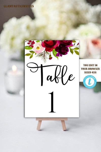 Wedding Table Number Cards, Printable Table Number Cards, Table Number Cards Template, Instant Download, Editable, Printable, DIY Wedding