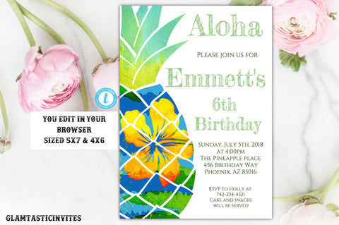 Pineapple Tropical Birthday Invitation, Birthday Invitation Template, Instant Download, Boy Pineapple Birthday, Tropical Template, Editable