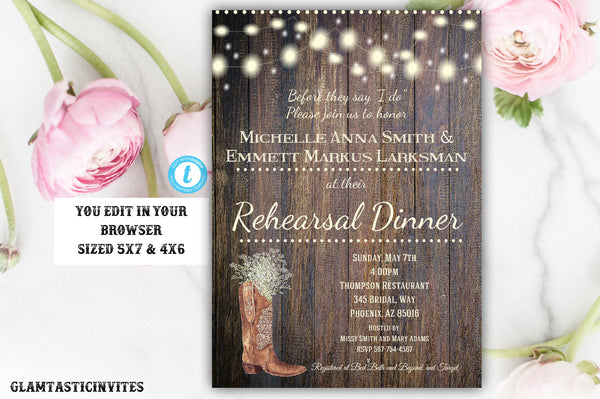 Rustic Rehearsal Dinner Invitation, Rustic Invitation, Cowboy Boot invitation, Flower Invitation, Rehearsal Dinner Template, Western Invite