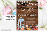 I Do BBQ Rustic Floral Lantern Autumn Fall Invitation Template, Instant Download, Editable, Printable, You Edit, Rustic, I DO BBQ, Template