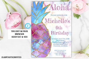 Pineapple Invitation, Pineapple Template, Pineapple Birthday Invitation, Tropical Birthday Invitation, Pineapple, Glitter, Pink, Blue, DIY