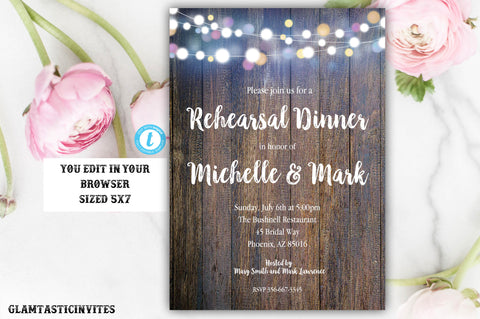 Rustic Rehearsal Dinner Invitation Template, Rustic Invitation, Template, Flower Invitation, Rehearsal Dinner Invite, Editable, Template
