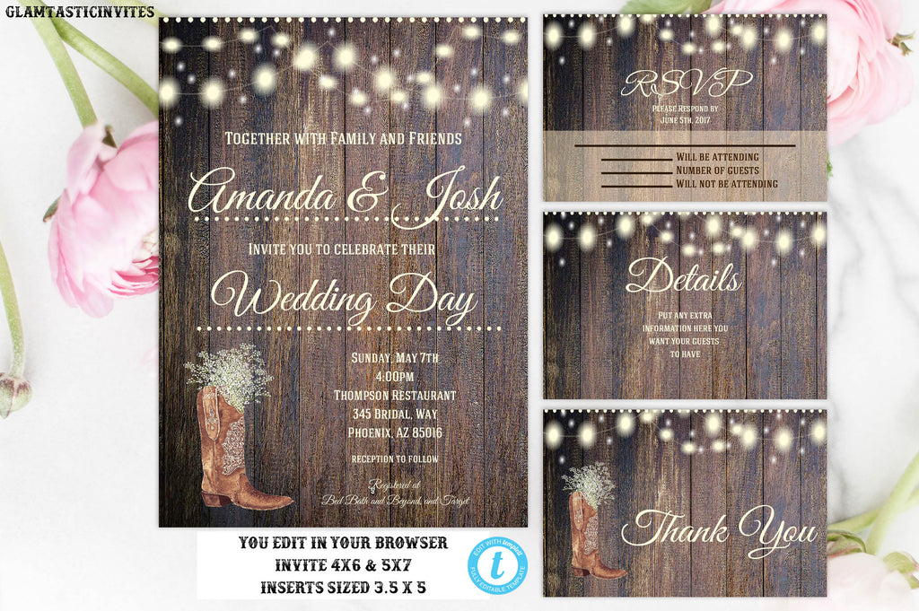 rustic wedding invitation template country wedding invitation