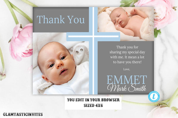 Baptism Thank You Template, Baptism Thank You Printable, Boy Baptism Thank You, Editable Communion Thank You, Party Invite Boy, You Edit
