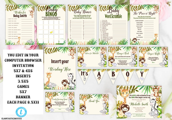 DIY Safari Baby Shower Package, Safari Baby Shower Invitation, Jungle Baby Shower Template, Baby Shower Template, You Edit, Instant Download