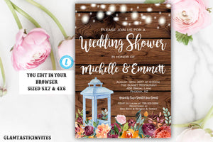 Rustic Wedding Shower Invitation, Rustic Invitation, Country invitation, Editable Template, Wedding Shower Invitation, Template, Autumn,Fall
