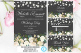 Wedding Invitation Set, Grey Floral Wedding Invitation Template, Roses, Gold, White, Grey, Instant Download, Editable, Printable, DIY Invite